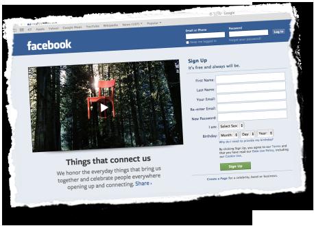 Página de Inscrição do Facebook